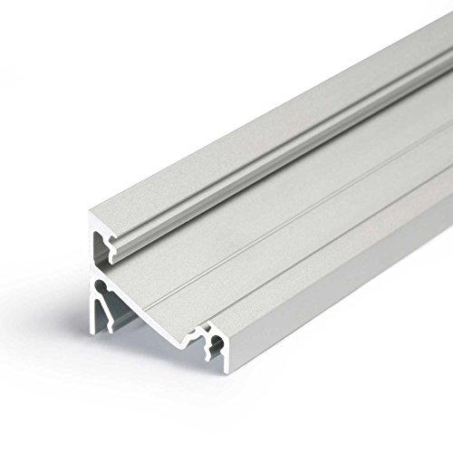 1m Aluprofil CORNER14 (CO14) Ecke 1 Meter Aluminium Eckprofil-Leiste eloxiert für LED Streifen - Set inkl Abdeckung-Schiene milchig-weiß opal mit Montage-Klammern und Endkappen (1 Meter milchig slide) - Trocken-milch-bad