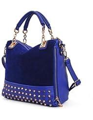 THG Azul Oficial Fashion PU cuero remache Office Lady Hobo Tote lleva el bolso del bolso de hombro del bolso