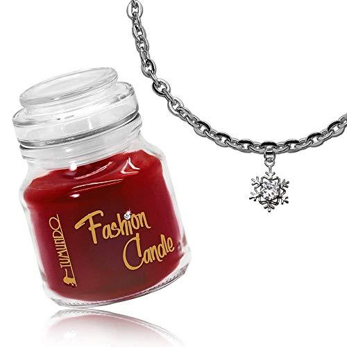 tumundo Schmuck-Kerze Adventskerze Fashion Candle Duftkerze Ohrringe Halskette Anhänger Schnee-Flocke Weihnachten Kette, Schmuckstück:Halskette + Anhänger