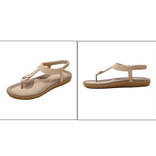 Transer® Damen Flach Sandalen Kunstleder+Gummi Outdoor Rosa Blau Beige Einfach T-Gurt Wohnungen Schuhe Gr.35-42 Beige