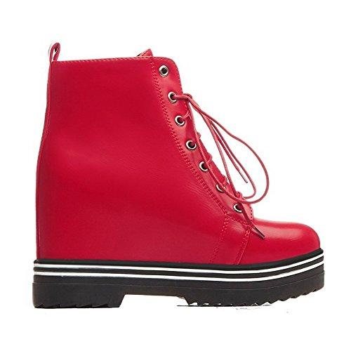 VogueZone009 Damen Gemischte Farbe Hoher Absatz Rund Zehe Schnüren Stiefel mit Knoten Rot
