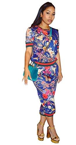 Blau geblümt zugeschnitten Hose Set Hosen-Set Jumpsuit Catsuit Clubwear Kleidung Größe S UK 10EU 38 (Floral Pant Set Cropped)