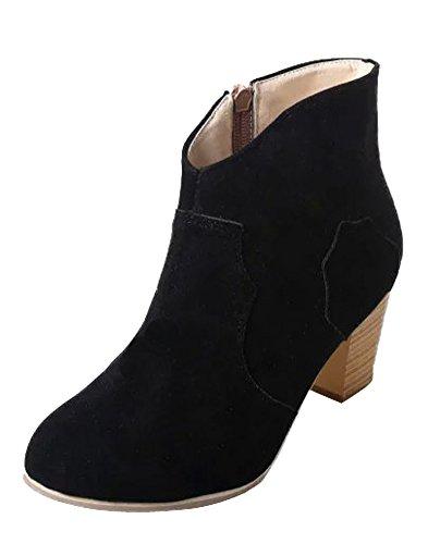 Minetom Tubo Corto Scarpe Con Tacco Stivali Bassi Donna Con Tacchi Mode Camoscio Stivaletti Martin Boots Nero EU 40