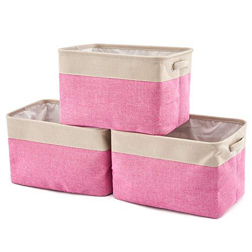 EZOWare Faltbare Aufbewahrungsbox aus Leinen Aufbewahrungskorb mit Griffen – 3er Set (Creme/Rosa)