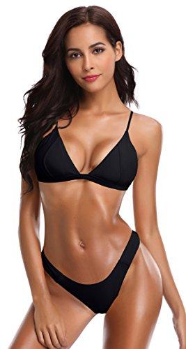 SHEKINI Damen Bikini Set Abnehmbar Bademode Push-up Bikinioberteil mit Nackenträger (XL, Schwarz) ...