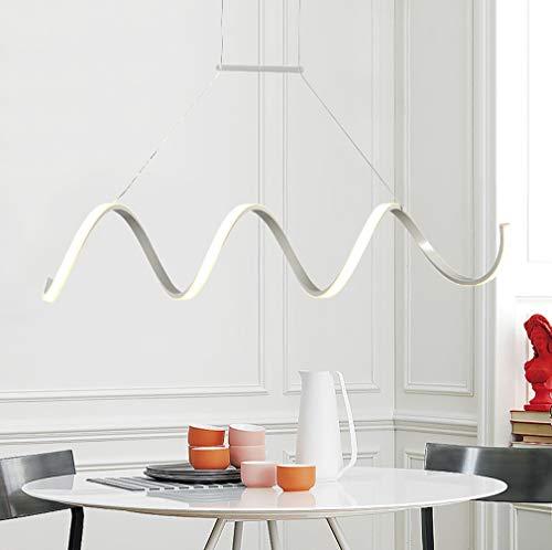 AIKE 54W Modern Kreative LED Pendelleuchte Dimmbar Metall Weiß Eisen LED-Esstischleuchte Hängeleuchte mit Fernbedienung Spirale Arbeitszimmer Hängelampe L 100cm H25cm IP20 Höhenverstellbar 3000-6500K