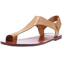 Mujeres Verano Casual Sandalias Correa de Tobillo Roman Flat Clip Toe Zapatos Sandalias Planas Color sólido