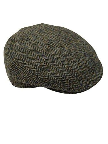 Harris Tweed Herren Schirmmütze Gr. 60 cm, Braun Fischgrätmuster