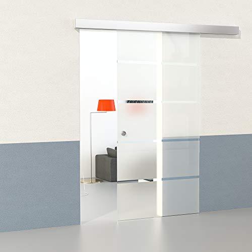 Duradoor® Glasschiebetür Schiebetür Glastür - 5-Streifendesign - 1050x2050mm - Komplettset