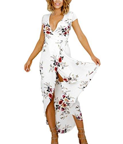 Damen Abendkleider Lang Elegant Festlich Kurzarm V-Ausschnitt Mit Blumenprint A Linie Strappy Schwingendem Saum Abendmode Cocktailkleid (Kostüme Print Belted)