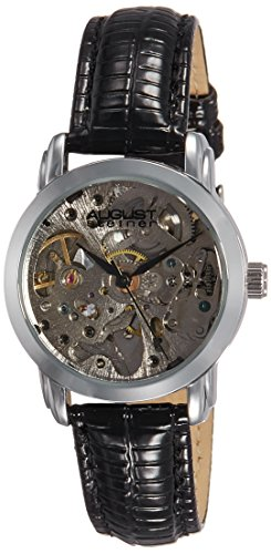 august steiner women's skeleton automatic watch with silver dial analogue display and black leather strap as8033ss