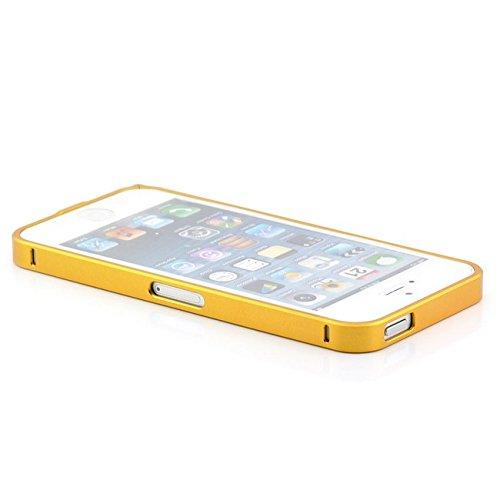 Saxonia Aluminium Bumper Apple iPhone SE / 5 / 5S Ultra Slim Alu Case Schutz Hülle Rahmen (Schraub-Verschluss) Gold (Variante II) Gold II
