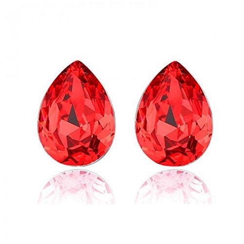 Boucles d'oreilles gouttes cristal swarovski elements plaqué or blanc Rouge