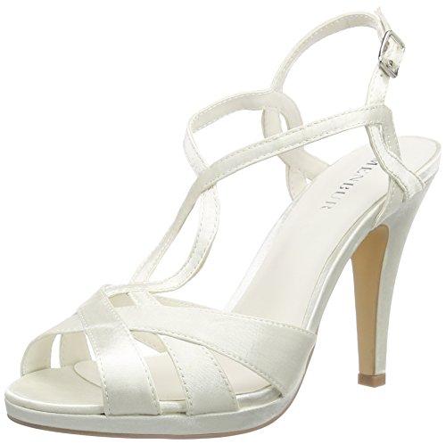 Menbur Wedding - Amparo, sandali T-fibbia Donna, Avorio (Elfenbein (Ivory)), 36