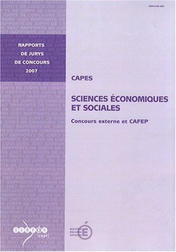 CAPES sciences économiques et sociales : Concours externe et CAFEP