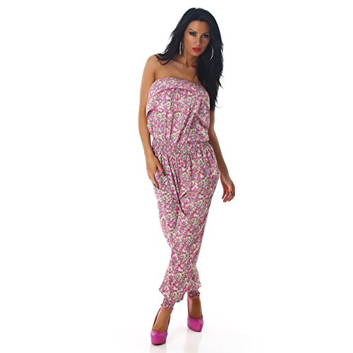 Jela London Damen Jumpsuit Overall Hosenanzug Einteiler Gemustert Einheitsgröße (36 - 40) Pink 851