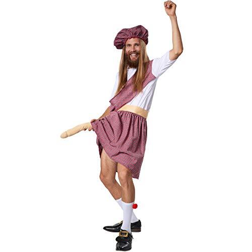 dressforfun 900426 - Costume Uomo Adulti Irriverente Highlander, Inclusi Kilt e Calze con Pompon (M | No. 302091)