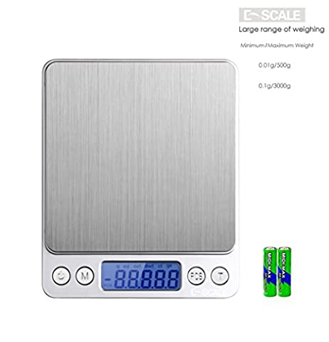 e-scale Multifunktions-Digital Elektronische Waage Smart Handlich Weigher Küche Backen Speisen, Obst Edelstahl Maßstab Jewelry Gem Medikamente Porto PorTable Pocket Mini Waage–0,01g/500g und 0,1g/3000g, 2Batterien, 2Tabletts 0.1g / 3000g silber