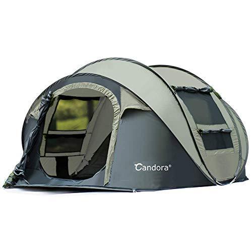 Candora Campingzelte 3-6 Personen Instant Pop Up Easy Quick Setup 2 Door Mesh Window Waterproof Big Family Privacy Zelt Travel