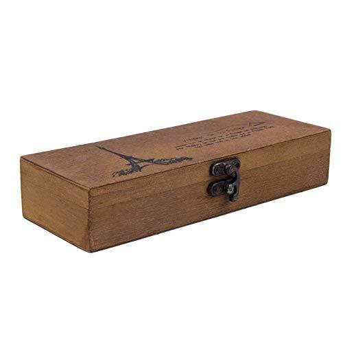 Bianchi Classic Wooden Eiffel Tower Pen Pencil Case Holder Stationery Storage Box -