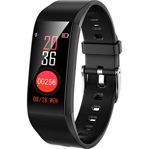 Happy Event Fitness-Armband, 0,96 Zoll Farbdisplay wasserdicht IP67 Fitness-Tracker mit Blutdruck-Herzfrequenz-Messgerät Aktivitäts-Tracker Fitness-Band Schrittzähler Uhr für Herren Damen (Schwarz) - Neueste Schuhe Damen Nike