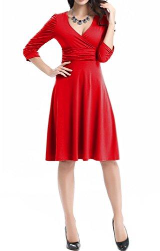 DoubleYI Damen Mini Skaterkleid V-Ausschnitt 3/4 Ärmel Basic Kleider A-Linie Kleid mit Polka Dots Elegant Rot 2