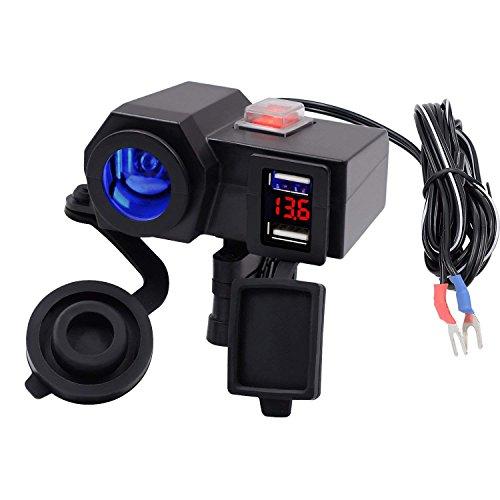 TurnRaise Wasserdicht Dual USB Ausgang Motorrad Lenker Klemme Netzteil USB Ladegerät Ladekabel/LED Voltmeter Display (steckdose motorrad)