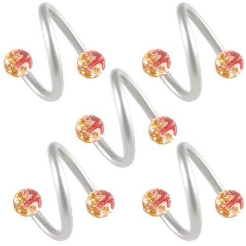 5er 1,2mm 10mm ohr augenbrauenpiercing körperschmuck ring Stud Spiralen Twist Langhantel surgical Stahl Glitter handbemalt BIOE