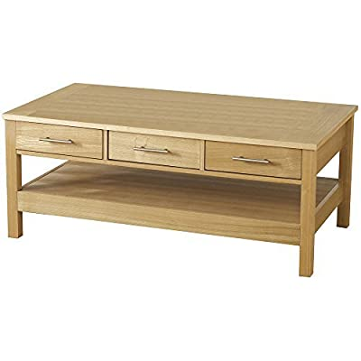 Oakleigh Natural Oak 3 Drawer Coffee Table - inexpensive UK light shop.