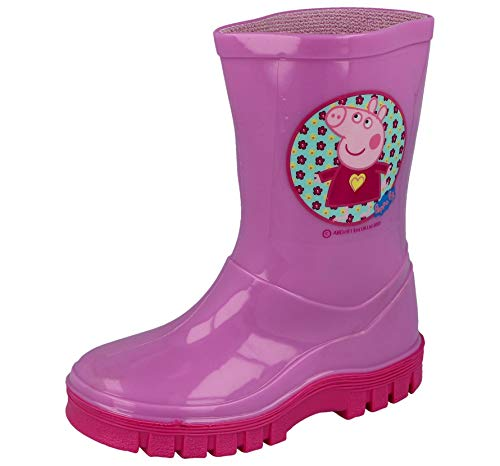 Peppa Pig Girls Infant Pink Dress Flowers Wellies Wellington Boots Waterproof Rain Boots