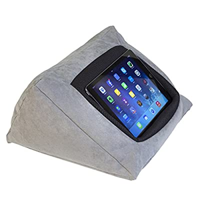 iPad Cushion Pillow Stand Holder (GREY) for iPad and other Tablet devices. Use around the home, in bed or on the desk. Avoid iPad RSI and iPad Shoulder - inexpensive UK light store.