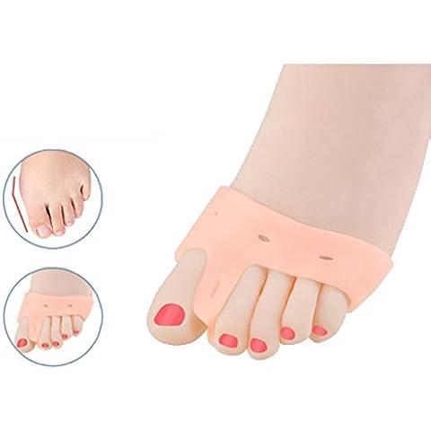 Un par suave silicona juanetes Big esparcidor Separador de dedos Alivia Pie Dolor Hallux Valgus Protector Cojín Big Toe esparcidor, mujer hombre, Skin Color, talla