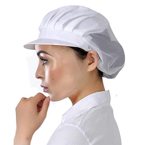 Berretto con visiera berretto cappello con fascia elastica per donna cappello da cuoco ristorante cameriere cucina (white 3)