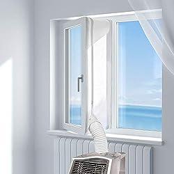 HOOMEE 300CM Tissu De Calfeutrage De Fenêtres pour Climatiseur Portatif Et Sèche-Linge - Fonctionne avec Toutes Les Unités De Climatisation Mobiles, Installation Facile
