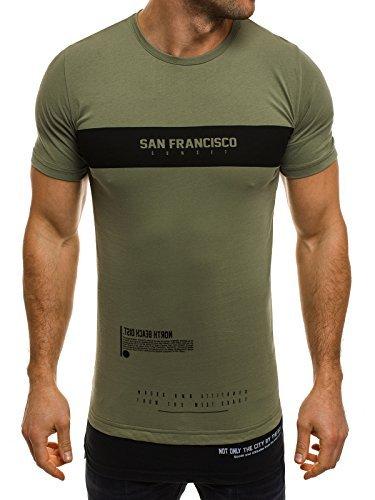 OZONEE Herren T-Shirt mit Motiv Kurzarm Rundhals Figurbetont Aufdruck ATHLETIC 1097 Grün