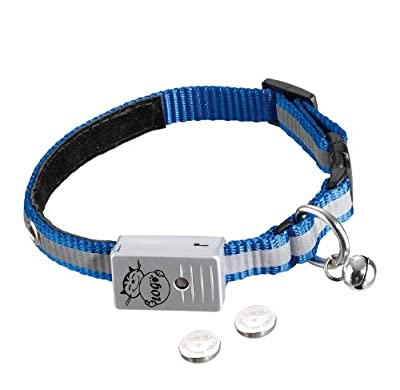 Nobby 78081 LED Blinkhalsband für Katzen 12 mm, 24-26 cm, blau mit Reflektorstreifen