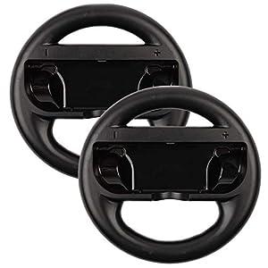 booEy 2x Lenkrad Wheel für Nintendo Switch Mario Kart schwarz Joy Con