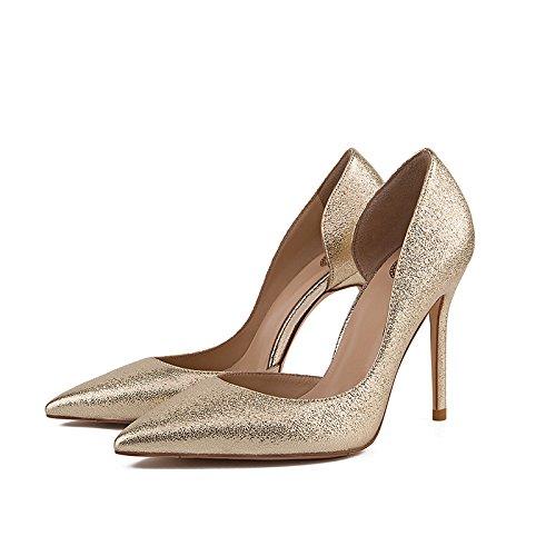WSS chaussures à talon haut Suede mode hauts talons sequin pointe creuse en relief léger champagne gold
