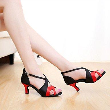 Scarpe da ballo-Da donna-Balli latino-americani / Salsa-Tacco su misura-Raso-Nero / Marrone / Viola / Rosso / Altro Orange