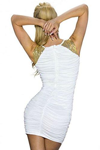 Bigood Robe Soirée Femme Robes Moulante Pailleté Sexy Col V Profond Chic Blanc