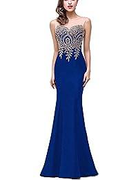 Mujer Vestido Noche Fiesta Largo Elegante Vestido Maxi Cola De Pescado Azul XL