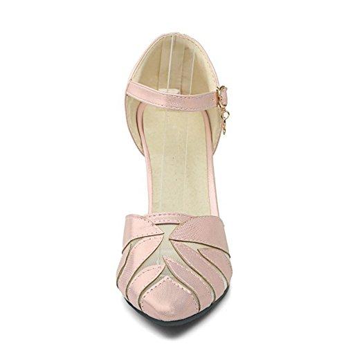 TAOFFEN Damen Klassischer Geschlossene Toe Thin Absatz Sandalen Party Dress Schuhe Pink