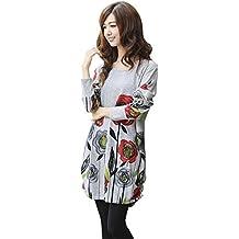 SaiDeng Mujer Casual Manga Larga Multicolor Impresión Cuello Redondo Corto Camisa Vestido