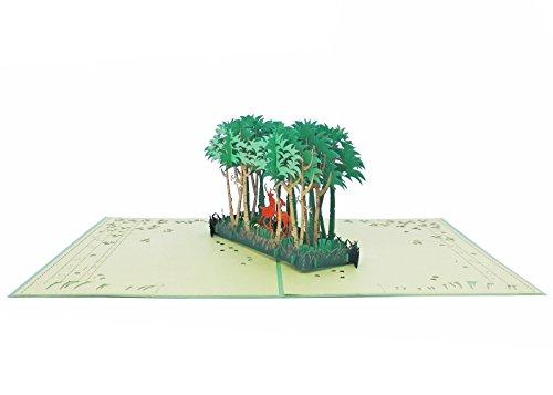 aitpop Handverarbeitetes Grußkarte 3D Pop-Up-Karte Karte Deer in Spring Forest (In Der Nähe Party Store)