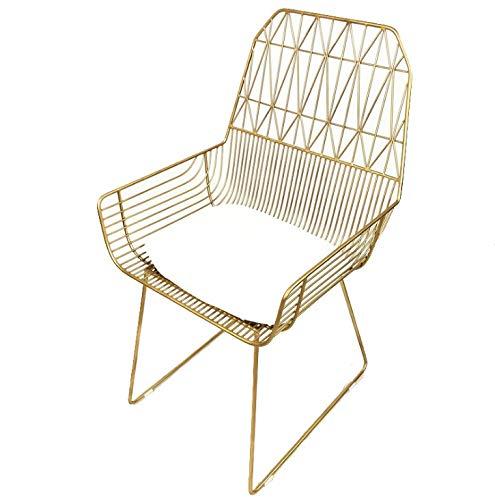 JpOTSUT Golden Openwork Eisen Stuhl Eisen Kreative Esszimmerstuhl Diamant Einfache Lounge Stuhl Moderne Designer Stuhl Senden Mat (Color : Gold)