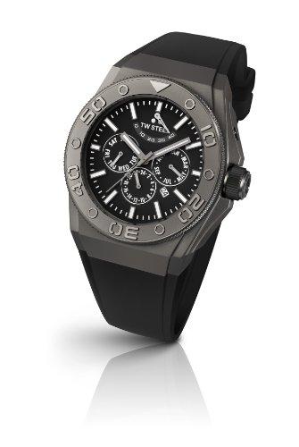 TW Steel Unisex-Armbanduhr CEO DIVER Chronograph Automatik Silikon Schwarz CE5000