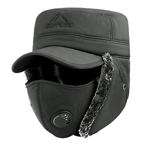 XuxMim Herren und Damen Hüte Unisex Warme Anti-Smog Pilot Winter Ski Cap Maske