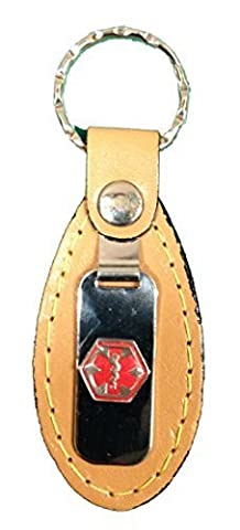 Emerg Alert Medical Alert Emergency ID Leather Tab Keychain - Blank by Emerg Alert