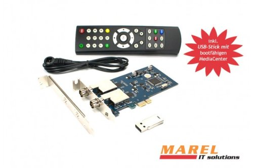 DVBSky T982 PCIe Karte (Low Profile) mit 2x DVB-T2 / DVB-C Tuner (Dual Twin Tuner), keine CD stattdessen partitionierter USB Stick mit Windows Software inklusive bootfähigem Linux Media Center