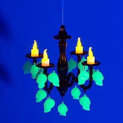 Lunartec LED Kerzenleuchter mit Totenköpfen, Glow-in-the-dark